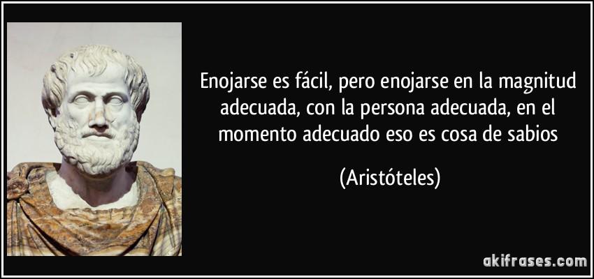 Enojarse es fácil, pero enojarse en la magnitud adecuada, con la persona adecuada, en el momento adecuado eso es cosa de sabios (Aristóteles)