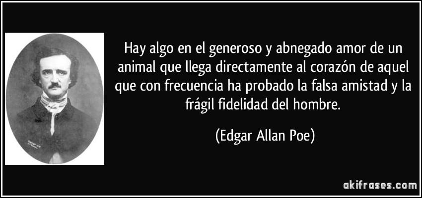 Hay algo en el generoso y abnegado amor de un animal que llega directamente al corazón de aquel que con frecuencia ha probado la falsa amistad y la frágil fidelidad del hombre. (Edgar Allan Poe)