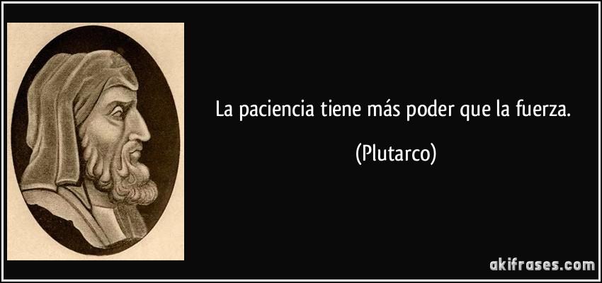 La paciencia tiene más poder que la fuerza. (Plutarco)