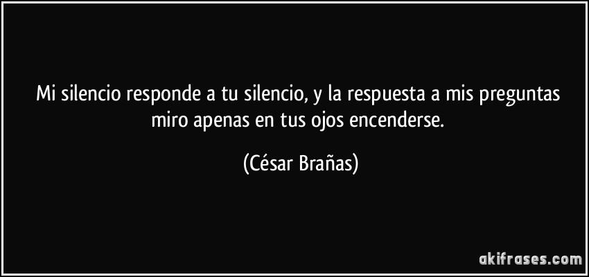 Mi silencio responde a tu silencio y la respuesta a mis preguntas