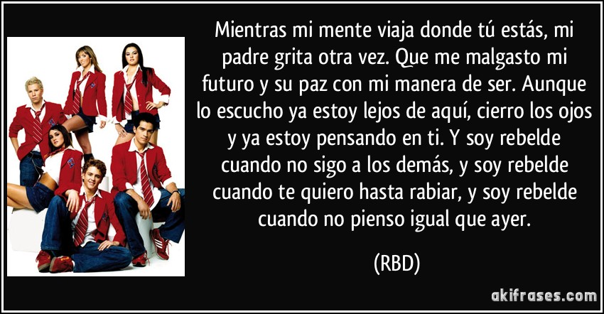 letra de cancion tras de mi de rebelde:
