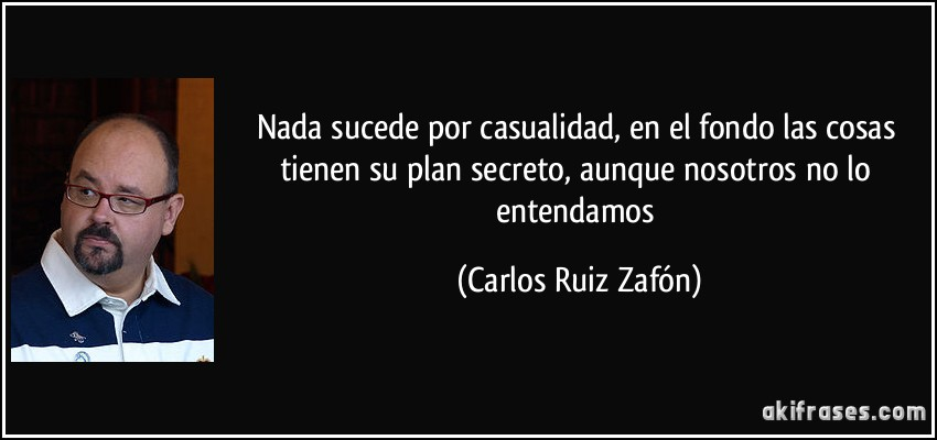 Nada sucede por casualidad, en el fondo las cosas tienen su plan secreto, aunque nosotros no lo entendamos (Carlos Ruiz Zafón)
