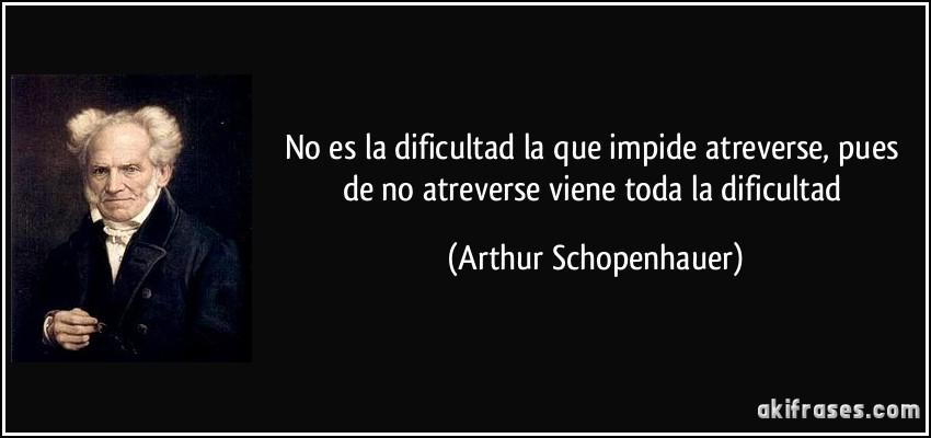 No es la dificultad la que impide atreverse, pues de no atreverse viene toda la dificultad (Arthur Schopenhauer)